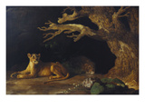 Lioness and Lion in a Cave