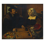 Double Portrait of a Husband and Wife  Half-Lengths  Seated at a Table  Playing Trick-Track