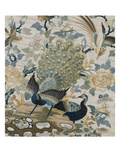 An Embroidered Roundel of Cream Satin  with a Pair of Peacocks and Other Birds Among Flowers