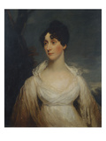 Portrait of a Lady Seated  Half Length  Wearing a White Dress