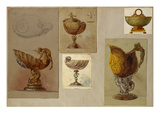 A Selection of Designs from the House of Faberge Including Vases a Tazza and a Pitcher