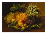 Grapes  Peaches  Hazelnuts and a Pineapple in a Basket