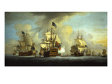 The English Fleet at Anchor with the Admiral's Ship Signalling to the Vice and Rear Admirals of…