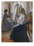 In the Studio; Anna Ancher  the Artist's Wife Painting