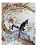 Magpies Amongst Red Peonies and Prunus Branches  a Detail from a Fine Enamel Famille Rose Vase