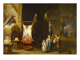The Interior of a Peasant&#39;s Cottage with a Pig&#39;s Carcass and a Boy Blowing Up its Bladder  a Man