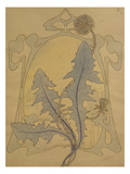 Design of Dandelions Against a Sinuous Art Nouveau Background
