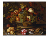 A Still Life of Grapes  Apples  a Peach and Plums in a Basket with Lily of the Valley  a…