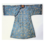 A Lady's Informal Robe of Pale Green Silk  Woven with Kossu Prunus and Butterflies  with Ivory…