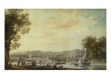 A View of the Grand Trianon  Versailles  with Figures and Vessels on the Canal