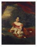 Portrait of Miss Julia Beatrice Peel Seated Full Length Wearing a Pink Dress with a Sash and