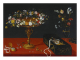 A Garland of Flowers in a Tazza  Jewels and Coins in a Japanese Black and Gold Lacquer Fumibako …