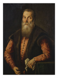 Portrait of a Bearded Man  in a Pink Doublet with Fur-Lined Waistcoat  Holding a Pair of Glasses
