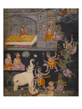 Illustration to a Gajendra Moksha Series Depicting Vishnu Rescuing the Elephant King