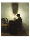 A Woman Reading by Candlelight in an Interior