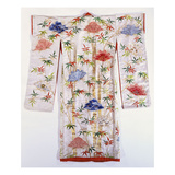 A Furisode of Ivory Damask  Embroidered and Tie-Dyed with Bamboos and Fans