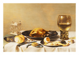 A Still Life with a Roemer  a Salt Cellar  a Plucked Chicken and a Peeled Lemon on Pewter Plates …