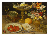 A Still Life with Strawberries on a Silver Plate  a Tazza with Sweetmeats  a Silver Gilt Bowl of