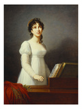Portrait of Angelica Catalani  Three-Quarter Length  Wearing a White Dress  Singing at a Pianoforte