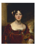Portrait of Mrs John Allnutt  Seated Half-Length in a Crimson Velvet Dress  Brown Shawl and Gold