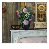 Bouquet of Flowers on the Fireplace; Bouquet De Fleurs Sur La Cheminee