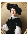 Portrait of a Young Girl  Half Length  Wearing a Black Velvet Costume with