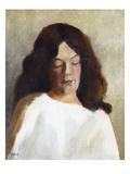 Quarter Length Portrait of a Woman with Her Hair Down; Brustbild Einer Jungen Frau Mit Offenem Haar