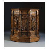 A Flemish Walnut Side Cabinet  the Central Door with a Seraphim  Flanked by the Apostles