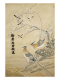 An Embroidered Picture  with Two Silver Pheasants in a Rocky Landscape with Plum Blossom and…