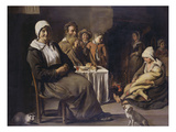 A Peasant Family in an Interior  with an Old Woman Seated  an Old Man Playing a Pipe  a Young