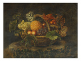 A Basket of Grapes  Peaches and a Pineapple on a Rock in a Landscape