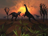 T Rex Confronts a Group of Camarasaurus Dinosaurs