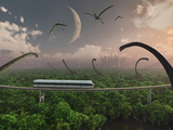 Futuristic Concept of a Monorail Ride Through a Dinosaur Park