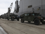 Humvees Depart USS Harpers Ferry in Support of Operation Tomodachi