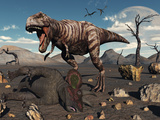 A T Rex Is About to Make a Meal of a Dead Triceratops