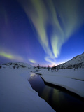 Aurora Borealis over Skittendalen Valley  Troms County  Norway