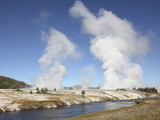 Steam Rising over Midway Geyser Basin Geothermal Area  Yellowstone National Park  Wyoming