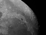 Close-Up View of the Moon Showing Impact Crater Plato