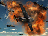 World War II Aerial Combat Between American P-51 Mustang and German Focke-Wulf 190 Fighter Planes