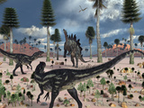 A Pair of Allosaurus Dinosaurs Confront a Lone Stegosaurus