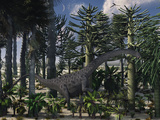 A Young Diplodocus Dinosaur Feeding in a Prehistoric Forest