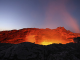 Lava Lake Illuminating Walls of Pit Crater at Night  Erta Ale Volcano  Danakil Depression  Ethiopia