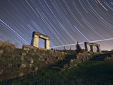 Star Trails over Rock Structures in the Parque Da Paz  Alamada  Portugal