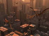 Quetzalcoatlus and Eudimorphodon Pterosaurs Fly Through the Sky Above a Futuristic City
