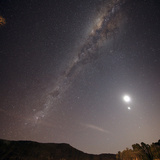 The Milky Way  the Moon and Venus over the Fields in Azul  Argentina
