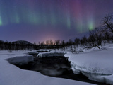 Aurora Borealis over Blafjellelva River in Troms County  Norway