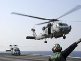 An HH-60H Sea Hawk Helicopter Takes Off from USS Ronald Reagan