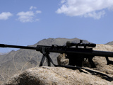 A Barrett 50-Caliber M107 Sniper Rifle Sits Atop an Observation Point in Afghanistan