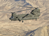Italian Army CH-47C Chinook Helicopter in Flight over Afghanistan
