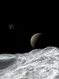 Saturn and Enceladus as Seen from the Moon Tethys
